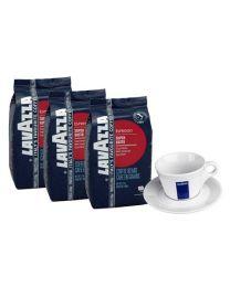 Lavazza koffiebonen Super Gusto UTZ (3X1kg) + Gratis Cappuccino tas