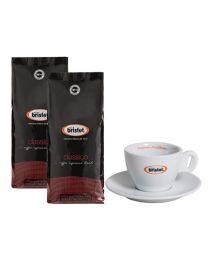 Bristot koffiebonen classico (2x1kg + cappuccino tas)