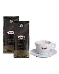 Bristot koffiebonen sublime (2x1kg + cappuccino tas)