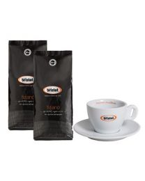 Bristot koffiebonen Tiziano (2x1kg + cappuccino tas)