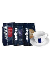 Lavazza koffiebonen (3X1kg) + Gratis Cappuccino tas